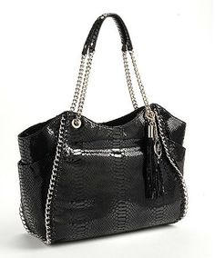 MICHAEL KORS CHELSEA SNAKESKIN-EMBOSSED LEATHER TOTE BAG