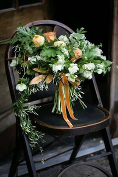 green and gold bouquet - photo by Sarah Esther Photography http://ruffledblog.com/st-patricks-day-wedding-inspiration-at-a-pub