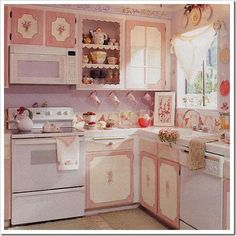 Shabby Chic furniture and style of decor displays more 'run down' or vintage items, or aged furniture. Shabby Chic is the perfect style balanced inbetween vintage and luxury, or '… Shabby Chic Furniture, Decor, Shabby Chic Kitchen Decor, Cottage Decor, Pink Kitchen, Chic Decor, Shabby Chic Pink, Shabby, Chic Kitchen Decor