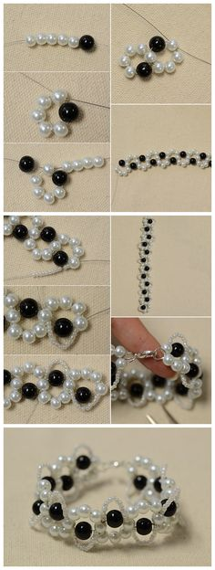 #Beebeecraft tutorials on how to make an easy black and white #Beaded #Bracelet with #WavePatterns