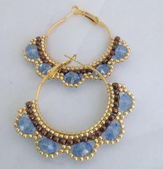 Hoop earrings with sky blue crystals by Beadgardener on Etsy