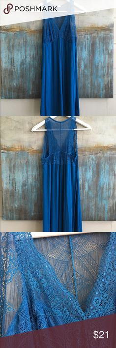 Anthropologie Fleur't Lace Chemise Size Medium Anthro Fleur't feminine chemise with gorgeous lacey top and knit bottom. Color Blue. Size Medium. Material Rayon/Spandex. Measurements shoulders: 9 pits: 13.5, hips: 20, top to bottom:34 Anthropologie Intimates & Sleepwear Chemises & Slips