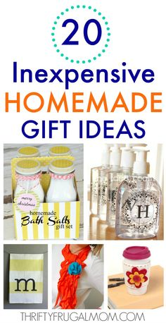 I love these easy inexpensive homemade gift ideas! They're great simple DIY gifts and perfect for Christmas, birthdays or any occasion! Diy Gifts Cheap, Easy Homemade Gifts, Inexpensive Christmas Gifts, Cheap Christmas, Diy Crafts For Gifts, Homemade Christmas Gifts, Inexpensive Gift, Gifts For Kids, Homemade Gifts For Friends