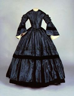 1863 Mourning, with 1850s-influenced fan front.  Connecticut Historical Society