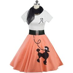Retro Poodle Print High Waist Skater Dress (€17) ❤ liked on Polyvore featuring dresses, mixed print dress, white retro dress, retro dresses, skater dresses and mixed pattern dress