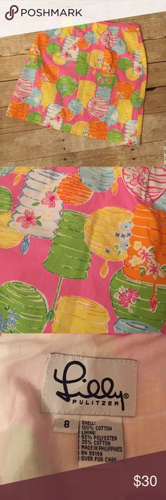 """Lily Pulitzer Chinese Lantern Skirt Lily Pulitzer 12 Party Lights Skirt, Size 8. Hook and eye closure needs repairing as hook is missing, otherwise perfect condition. Waist 14.5"""" across length 19"""" Lilly Pulitzer Skirts"""