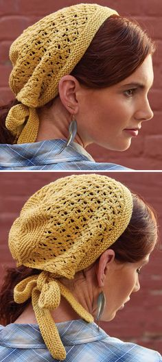 Knitting Pattern for Sunshine Lace Kerchief - This combination cap and scarf ties in back. Designed by Courtney Spainhower. From Interweave