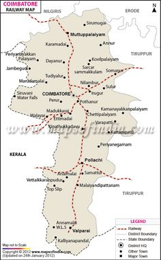Get Coimbatore Railway Map showing Rail Lines spread in and around district and highlights the boundaries, towns of Coimbatore, Tamil Nadu Ramanathaswamy Temple, Hindu Temple, Kanyakumari, General Knowledge Facts, Madurai, Coimbatore, Pilgrimage, Incredible India, Holiday Travel