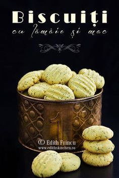 biscuits with lemon and poppy 1 Romanian Desserts, Romanian Food, Baby Food Recipes, Cookie Recipes, Easy Recipes, Pita, Pastry Cake, Breakfast Dessert, Edith's Kitchen
