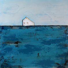 Abstract Landscape painting - Abstract Barn Painting, White Barn, Contemporary art, Farmhouse Art, Barn Art, Saltbox barn, Teal, Brown, Farm