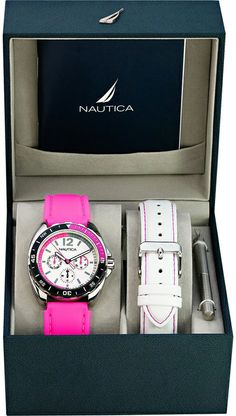 Want that pink. Nautica Ladies Watch Box Set With Pink & White Straps - Watch Companies, Watch Box, Rolex Watches, Pink White, Smart Watch, Lady, Accessories, Shoes, Smartwatch