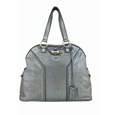 Pre-owned Yves Saint Laurent (YSL) Tote (9.544.965 IDR) ❤ liked on Polyvore featuring bags, handbags, tote bags, apparel & accessories, grey, tote handbags, wallets & cases, genuine leather handbags, gray leather tote bag and leather purse
