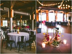 This lovely event put together by A Swanky Affair shows off Get Lit Market Lights in an X pattern over the wood floor and zig zag over the concrete floor.  Flowers: Eclectic Sage.  Photography: Carolyn Scott Photography.