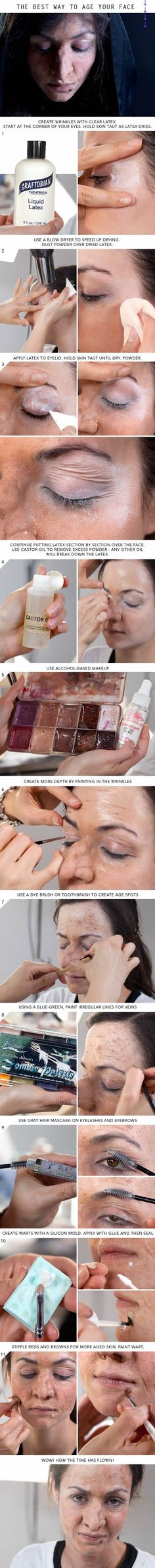Super easy Old-Age Makeup!!! All items can be purchased at PaintandPowderStore.com! Sfx Makeup, Cosplay Makeup, Costume Makeup, Dupe Makeup, Creepy Makeup, Makeup Brushes, Makeup Geek, Witch Makeup, Makeup Eraser