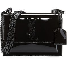 Saint Laurent Monogram Sunset Small Patent Chain Bag ($2,150) ❤ liked on Polyvore featuring bags, handbags, shoulder bags, black, handbags shoulder bags, chain shoulder bag, monogrammed purses, yves saint laurent handbags, handbag purse and hand bags