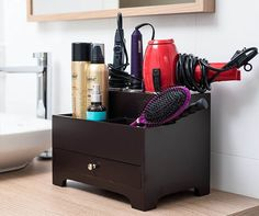 Stock Your Home Espresso Hair Care Organizer Blow Dryer Holder Hair Styling Station Bathroom Vanity Countertop Organizer with Drawer for Curling Iron, Flat Iron, Hair Tools and Beauty Accessories. Small Bathroom Organization, Care Organization, Bathroom Storage, Vanity Organization, Bathroom Ideas, Bathroom Hacks, Makeup Storage, Bathroom Renovations, Organized Bathroom