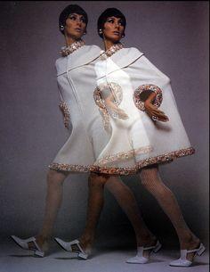 1967 Alberta Tiburzi in a cape dress with beaded trim by Casalino Tricot, photo by Gian Paolo Barbieri