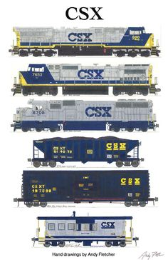 An poster with 6 of Andy Fletcher's hand drawings of CSX locomotives & rolling stock. Lego Trains, Old Trains, Diesel Locomotive, Steam Locomotive, Gare Lego, Union Pacific Train, Csx Transportation, Train Drawing, Train Posters