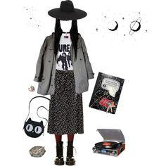 Shy shy shy, shy shy girl by punkgurrrl on Polyvore featuring K. Bell, Yves Saint Laurent, OKA and Zara