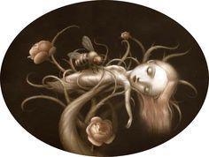 coccoon girl tree flower bee sleeping beauty fantasy art surrealist painting childrens book illustration