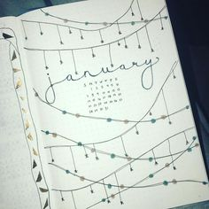 Bullet journal monthly cover page, January cover page. | @bujo.hal