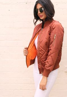 Diamond Quilted Satin Shiny MA1 Detail Padded Bomber Jacket in Copper - One Nation Clothing - One Nation Clothing - 1