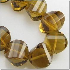 1 Cognac Quartz faceted onion gemstone bead (N) 9.3 to 9.8mm CLOSEOUT