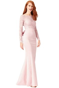8d08370839 Goddiva Long Sleeve Lace Open Back Bow Maxi Evening Party Dress Prom  Bridesmaid Lace