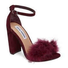 Women's Steve Madden Carabu Sandal (150 465 LBP) ❤ liked on Polyvore featuring shoes, sandals, burgundy suede, block heel shoes, ankle tie shoes, steve madden sandals, steve-madden shoes and burgundy suede shoes