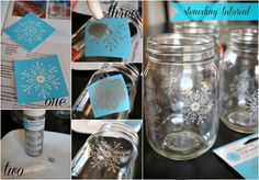 white christmas mason jar lumaries, christmas decorations, crafts, decoupage, electrical, lighting, mason jars, seasonal holiday decor, This step is totally optional but the snowflakes do add a pretty touch I used some Martha Stewart glass paint snowflake stencils to stencil my jars
