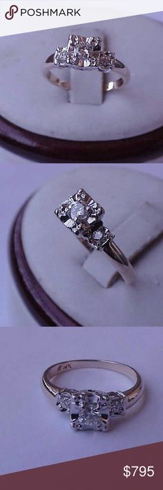 14k 2-tone gold .30ct diamond engagement ring Art deco unique 14k yellow and white gold ring with 3 diamonds ,vs in clarity and h in color.  Center diamond  .25ct  (3.9mm) and 2 more diamonds  approx.  .06ct( 2mm). Weight 2.2gr. Size 4 1/2. Jewelry Rings
