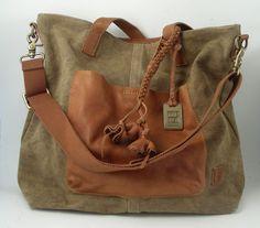 Frye Handbag  (Brown Canvas & Leather Shoulder Bag, Adjustable Strap, Women's Pre-owned Brand Name Hand Bags)
