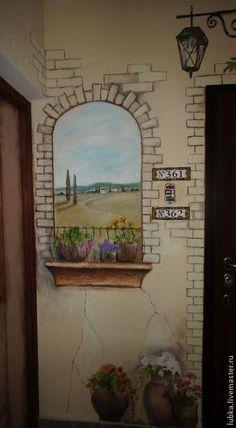 Декор поверхностей ручной работы. Ярмарка Мастеров - ручная работа. Купить Роспись стен в коридоре. Handmade. Роспись стен на заказ