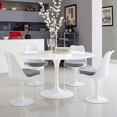 Buy Lippa 54 Wood Top Dining Table by Modway Tulip Dining Table, Pedestal Dining Table, Modern Dining Table, Dining Room Bar, Dining Tables, Kitchen Tables, White Round Dining Table, Round Tables, Kitchen Nook