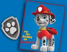 PAW Patrol - Pin the badge on Marshall - free printable party game