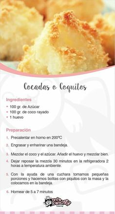 Cocadas My Recipes, Mexican Food Recipes, Sweet Recipes, Cookie Recipes, Dessert Recipes, Favorite Recipes, Baking Recipes, Ethnic Recipes, Bolivian Food