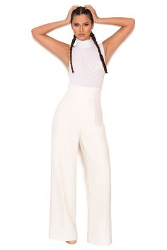 Samay Off White Wide Leg Jumpsuit