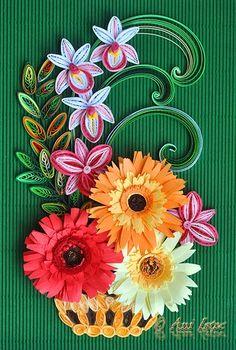 Printre hobby-uri: quilling, kusudama, origami, bijuterii handmade...: Quilling - Cos cu flori