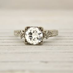Erstwhile Jewelry Vintage Engagement Ring c.1925. Love the details on the band!