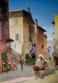 Rome watercolor repro from Ettore Roesler