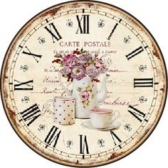 DECOPAULA Decoupage Vintage, Decoupage Paper, Shabby Vintage, Vintage Teacups, Clock Craft, Diy Clock, Vintage Labels, Vintage Ephemera, Clock Face Printable