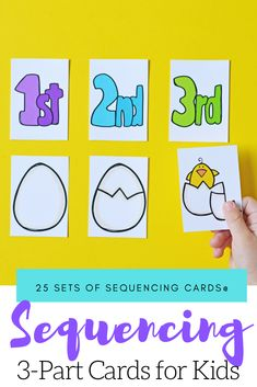 Kids will begin to make sense of the order in which events happen when you introduce them to sequencing with these 3 step sequencing cards for kids. Sequencing Pictures, Sequencing Cards, Sequencing Activities, Hands On Activities, Kids Writing, Kids Reading, Pete The Cat Author, Author Studies, Preschool Printables