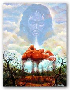 The Creation of The Man (Religious) - Lester Kern Unframed - African American Black Art Print Wall Decor Poster - US Black Art Painting, Black Artwork, Biblical Art, Biblical Hebrew, Black Art Pictures, Black Love Art, Ange Demon, Jesus Art, Wow Art