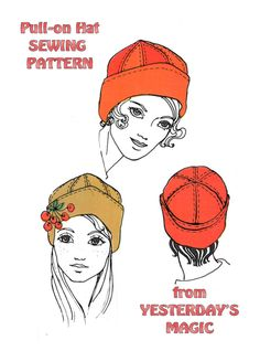 Vintage 1960's English Sewing Pattern to make a pull on hat by pdf.  via Etsy.