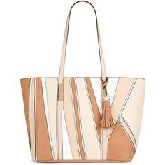 Aldo Colour Block Tote ($63) ❤ liked on Polyvore featuring bags, handbags, tote bags, boho purses, aldo purses, aldo tote, summer totes and shoulder strap purses