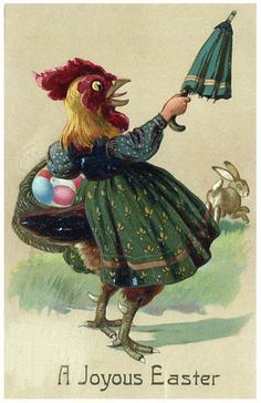 The card that makes your half-chicken half-umbrella wielding woman nightmares a reality. | 21 Vintage Easter Cards That Will Totally Creep You Out