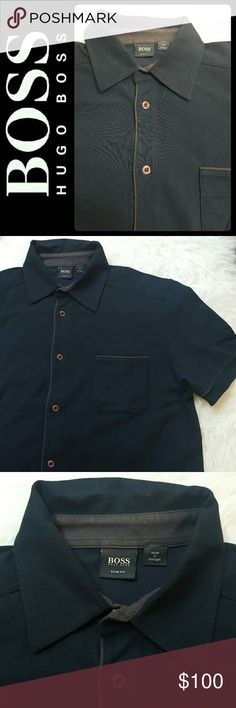 Hugo Boss Slim Fit Button Down Polo Shirt BOSS by Hugo Boss Designer Men's Polo Shirt! Features Slim Fit Design in Dark Navy Shade! Easy Wear With Button Down Front Closures! Material Blend of Cotton Elastaine! Size M, Excellent Used Condition! Hugo Boss Shirts Casual Button Down Shirts