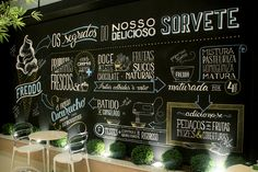 Infographic created and executed with posca to illustrate a wall inside Freddo's ice cream store located in Curitiba, Brasil.