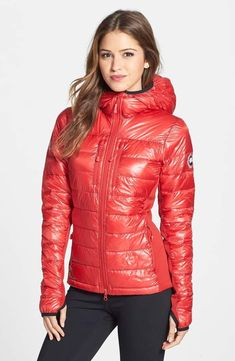 Canada Goose 'Hybridge Lite' Slim Fit Hooded Packable Down Jacket (Online Only) Canada Goose Women, Canada Goose Jackets, Milan Fashion Weeks, New York Fashion, Puffy Jacket, Hooded Jacket, Nylons, Jackets Online, Sport Outfits