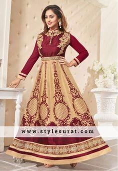 Adorable Maroon And Beige Printed Anarkali Salwar Suit